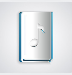 Paper cut audio book icon isolated on grey vector