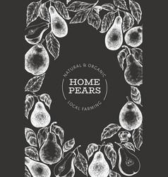 Pear design template hand drawn garden fruit vector
