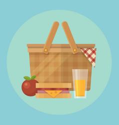 Picnic basket and food flat apple blanket vector