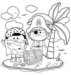 pirates on a treasure island vector image