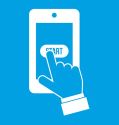 Playing games on smartphone icon white vector