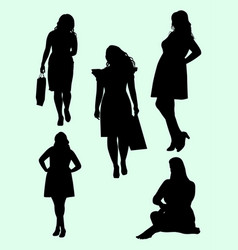 plus size model gesture silhouette 02 vector image