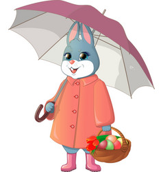Rabbit with umbrella vector
