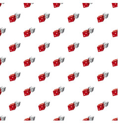 Red and white dice cubes pattern vector