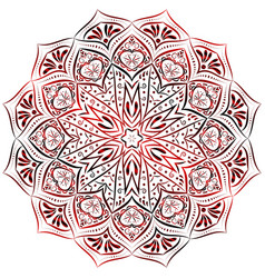 red mandala pattern on white background vector image