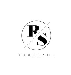 Rs letter logo with cutted and intersected design vector