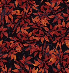 Seamless floral pattern with red ficus leaves vector image
