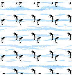 seamless pattern with dolphins jumping fish vector image
