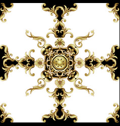 seamless pattern with golden baroque vector image