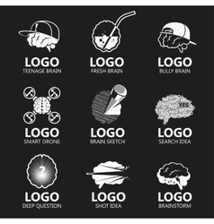 Set of brain sign set vector image