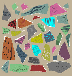 set pieces of torn paper with abstract vector image