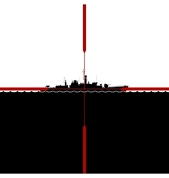 Ship in periscope crosshairs vector