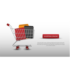 shopping online concept shopping cart and bags vector image