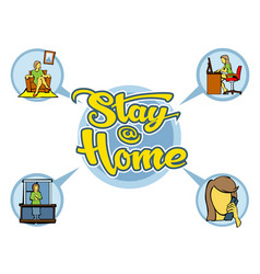 Sit at home infographic with a beautiful vector