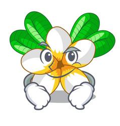 Smirking frangipani flowers in the chracter pot vector