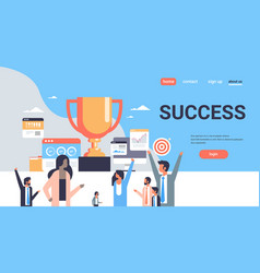 Successful people group stand winner cup trophy vector