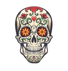 sugar skull decoration tattoo vector image