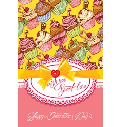 sweet love cake card 380 vector image
