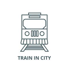 Train in city line icon linear concept vector