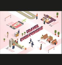 Travel everywhere how work airport isometric vector