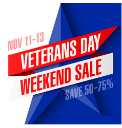 Veterans day weekend sale banner template vector