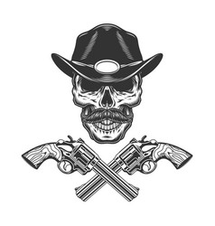vintage monochrome mustached sheriff skull vector image