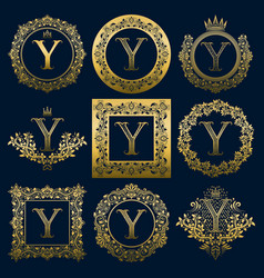 vintage monograms set of y letter vector image