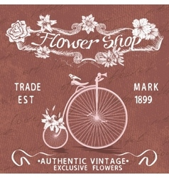 Vintage poster for flower shop design with old vector