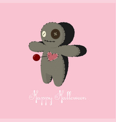 Voodoo doll cartoon horror elements spooky fear vector