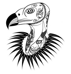 Vulture head with tattoo vector
