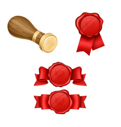 wax sealing and royal stamp realistic vector image