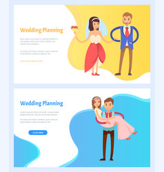 wedding planning bride and bridegroom website vector image