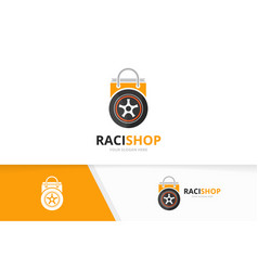 wheel and shop logo combination tire and vector image