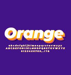 White orange and purple modern 3d alphabet text vector