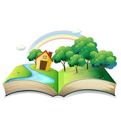 A book with a story of a house at the forest vector image vector image