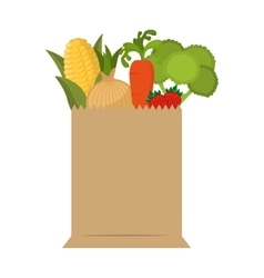 bag shopping with vegetables vector image