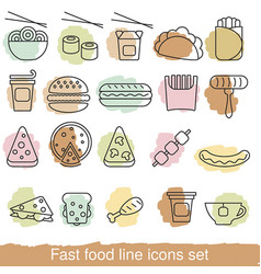 fast food line icons set fast food line icons set vector image vector image