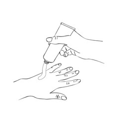 hands with cosmetic cream tube vector image