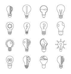 lamp logo icons set yellow outline style vector image