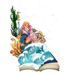Mermaid and ocean vector image vector image
