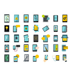 smartphone icon set flat style vector image