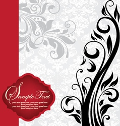 vintage invitation card with floral background and vector image