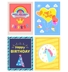 set of happy birthday little princes pictures vector image