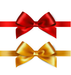 Shiny red and gold satin ribbon on white vector image vector image