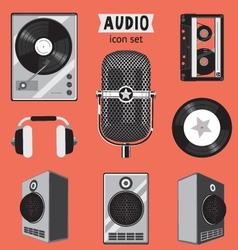 audio icon set vector image vector image