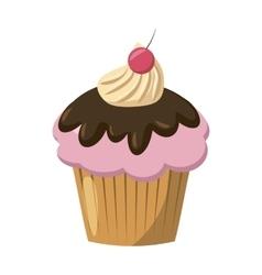 Cherry cupcake icon cartoon style vector image