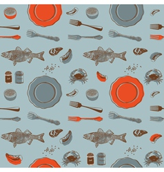 Sea food Seamless background vector image vector image