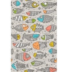 Sea seamless pattern with decorative fish in vector image