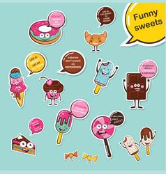 set of funny sweets cartoon face food emoji vector image