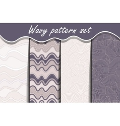 Colorful cartoon waves seamless pattern set vector image